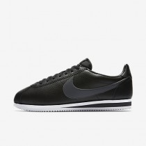 Nike classic cortez leather para hombre negro/blanco/gris oscuro_100